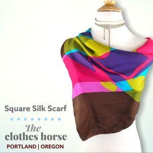 Vntg Silk Scarf Bright Rainbow